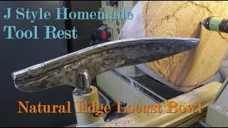 Homemade Curved Tool Rest Tested on Large Natural Edge Locust Bowl - WoodTurning