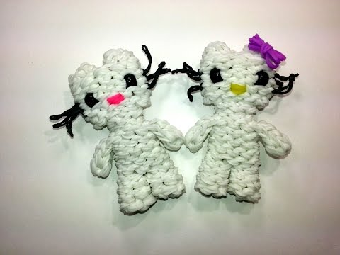 3-D Hello Kitty Tutorial by feelinspiffy (Rainbow Loom)