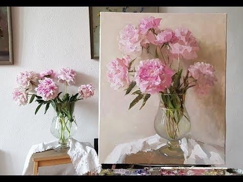 Живопись маслом. Розовые пионы.