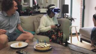 Nan plays VR for the first time on her ...