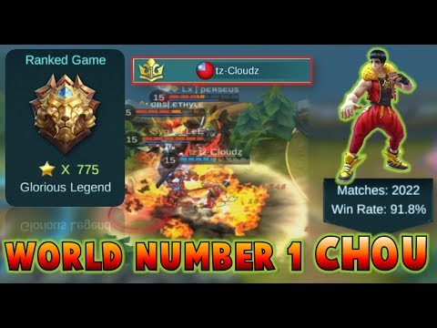 Mobile Legends : WORLD NUMBER 1 CHOU PLAYER ! Gameplay + Commentary /w Cloudz