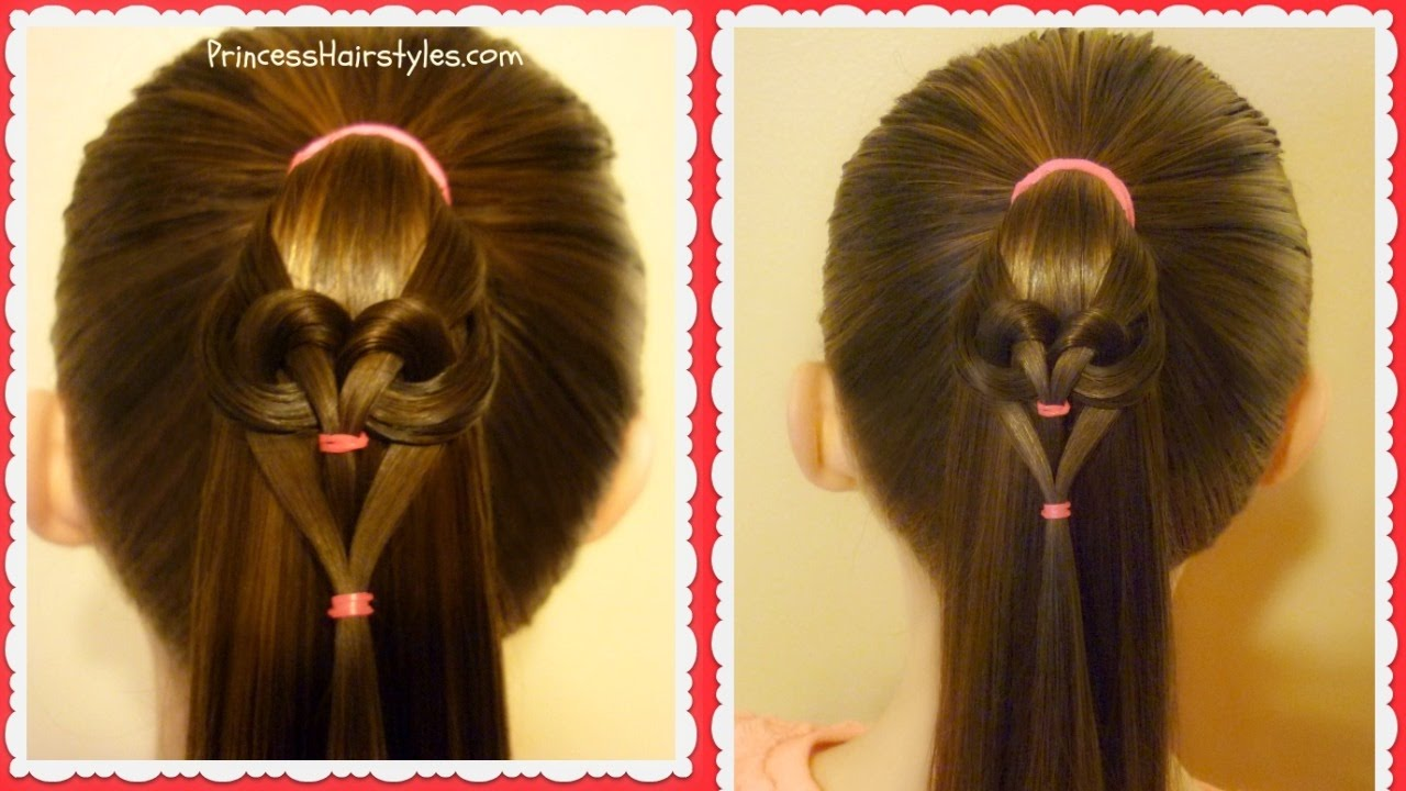 Easy Heart Hairstyle 2017 Hanging Heart Ponytail Youtube