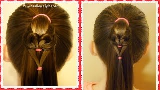 Easy Heart Hairstyle 2017, Hanging Heart Ponytail