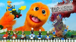 Gambar cover LEGO Tornado! Police cars toys and Fire Trucks Construction toys set for kids!