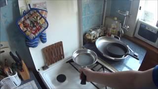 Чугунная и алюминиевые сковороды, подготовка к эксплуатации,пробная жарка яиц