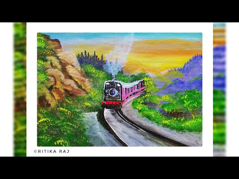 Train From The Heaven    Acrylic Canvas Landscape Painting    Step by Step Tutorial for Beginners.