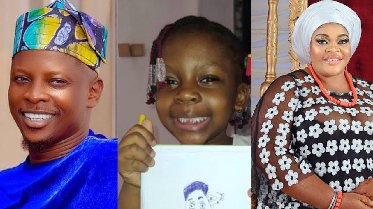 Download See How Rotimi Salami 5 Years Old Daughter Warms Yoruba Actress Allwell Ademola Heart, Draws Allwe…
