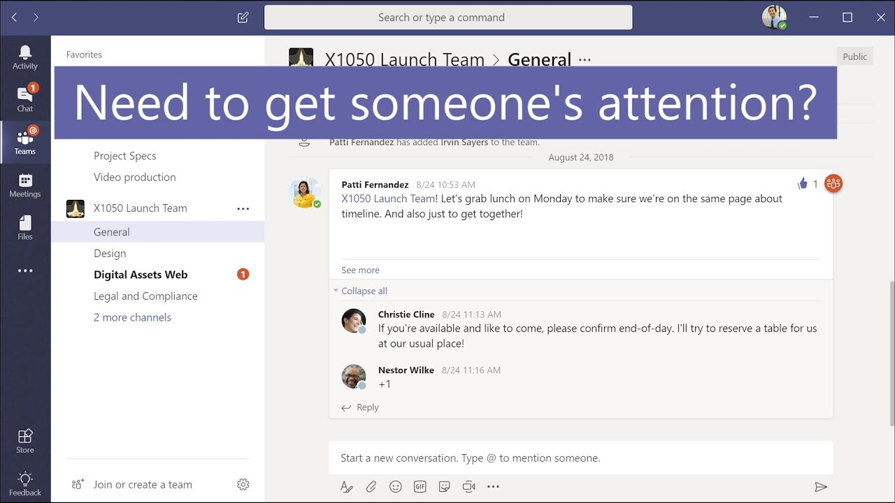 Get attention with @mentions in Microsoft Teams