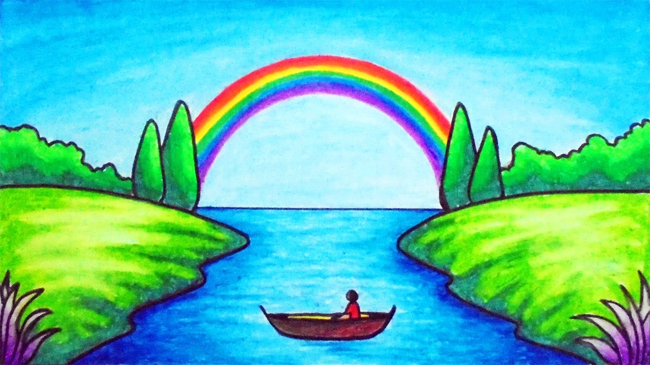 How To Draw Easy Scenery Drawing Rainbow On The River Scenery Step By Step With Oil Pastels Youtube