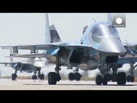 1st footage of Russian military jets leaving Syria