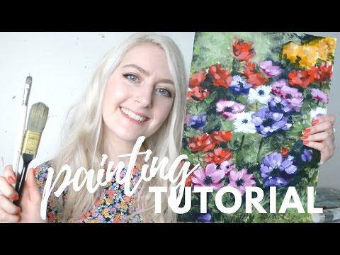 PAINTING TUTORIAL Acrylic Flowers | Katie Jobling Art
