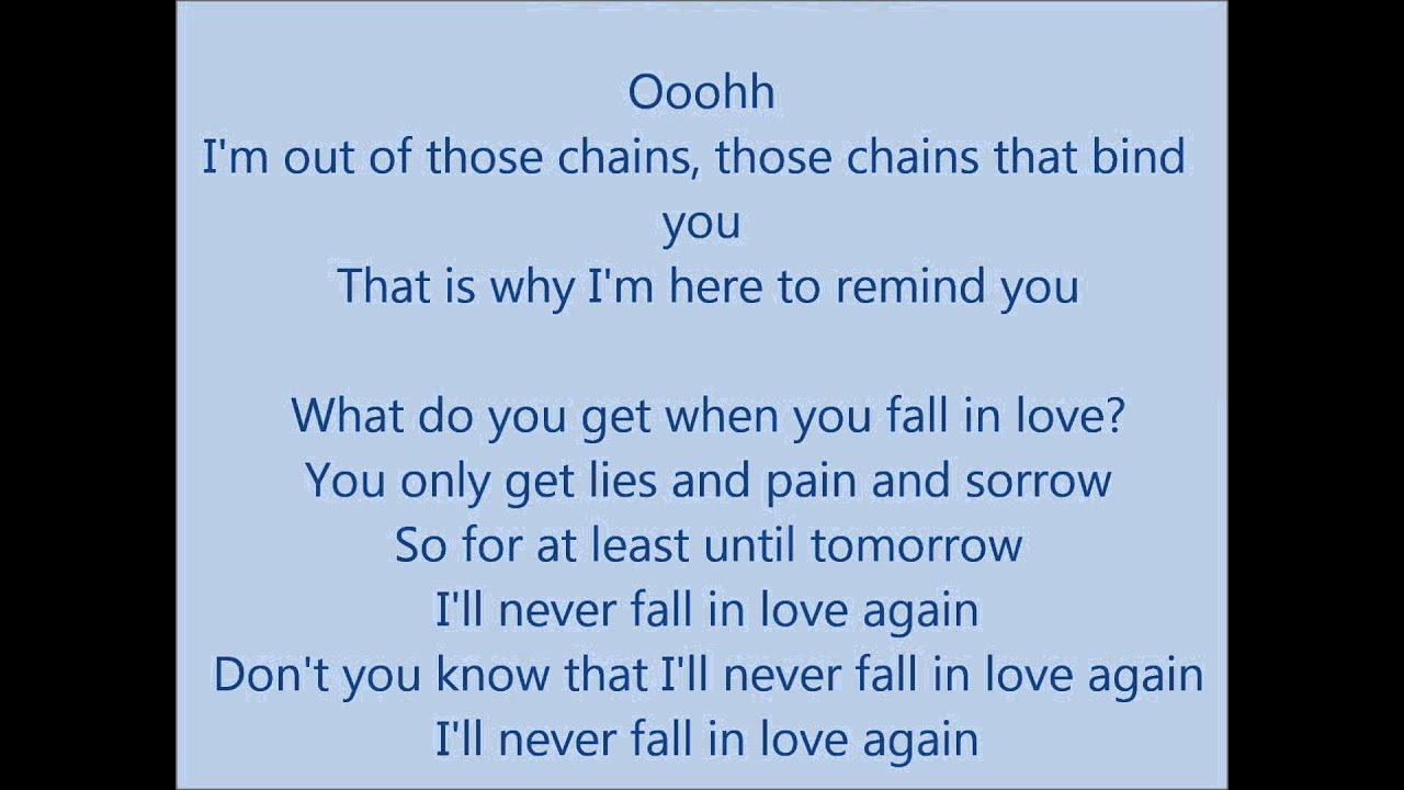 Never fall in love lyrics