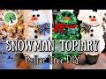 DIY DOLLAR TREE SNOWMAN TOPIARY | 2 FEET TALL | EASY & FUN CHRISTMAS CRAFT
