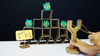 How to Make ANGRY BIRDS Game from Cardboard | DIY Angry Bird real life