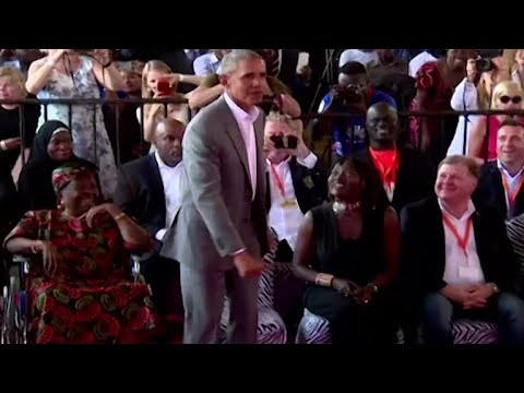 Former President Obama dances in Kenya