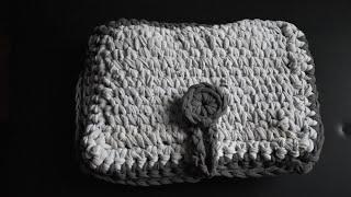 Crochet Hook Holder with T-Shirt Yarn, Fabric Strips or Chunky Yarn.