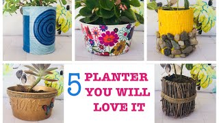 diy 5 Creative Planters | Planter Makeover Out Of Waste| Planter Pots Idea Using Recycled Materials