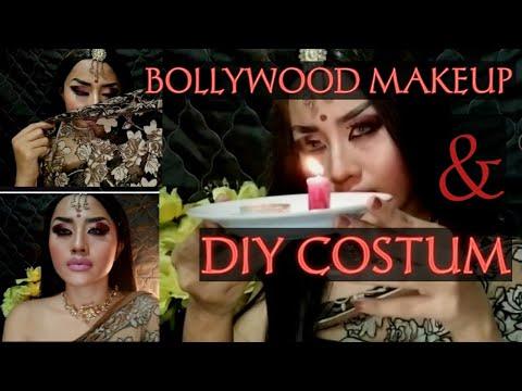 bollywood-bridal-makeup-burgundy-&-diy-costum-ala-saraswati