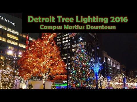 Big Crowd on Detroit Tree Lighting 2016 at Campus Martius Park