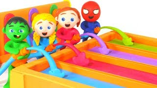 SUPERHERO BABIES PLAYING WITH RAINBOW WATER HOSES ❤ SUPERHERO PLAY DOH CARTOONS FOR KIDS