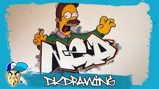 How to draw graffiti letters Ned & Ned Flanders