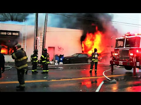 Blazing 2 Alarm Car Wash Fire   NYC911NEWS