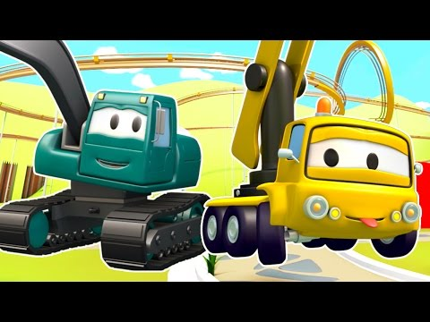 The Roller Coaster in Car City by the Construction Squad the Dump Truck, the Crane and the Excavator