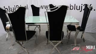 Stół Glamour 780+ 6 krzeseł glamour 1503