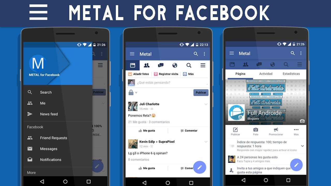 Metal|Alternativa a Facebook|Fluida y ligera//Sin Messenger//Mejor que Facebook Lite|Android.