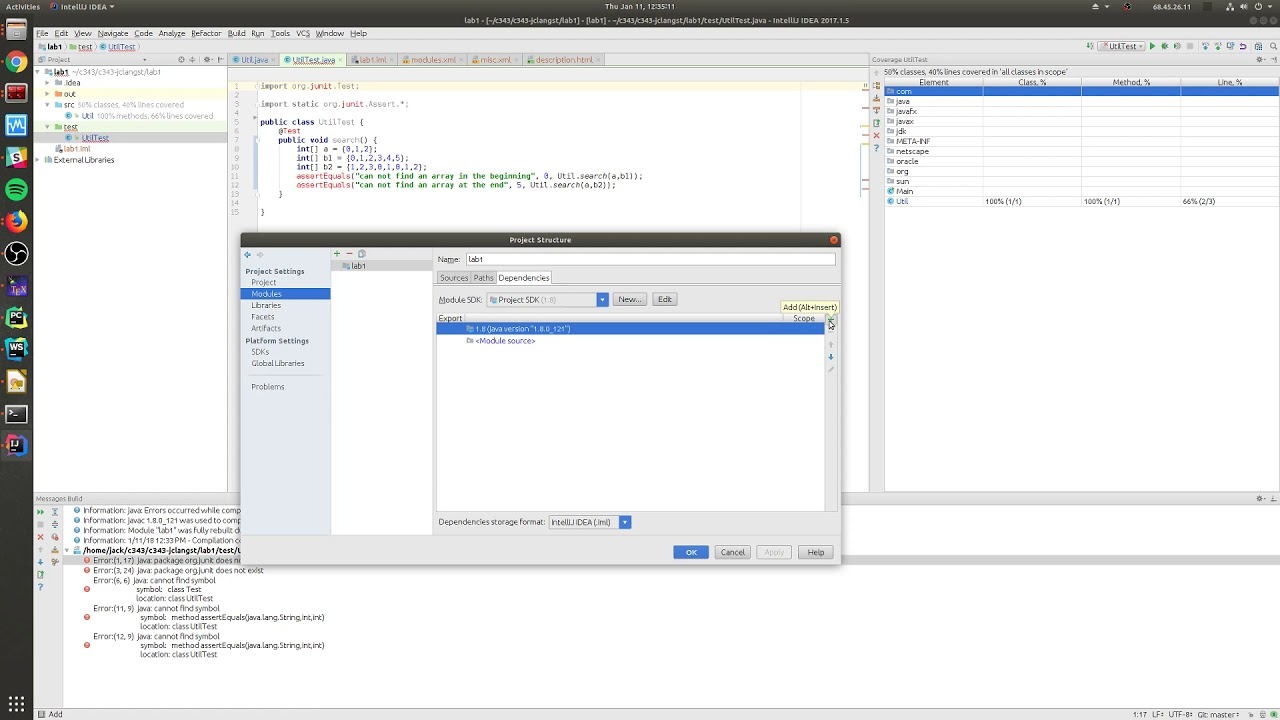 Adding JUnit to IntelliJ Project