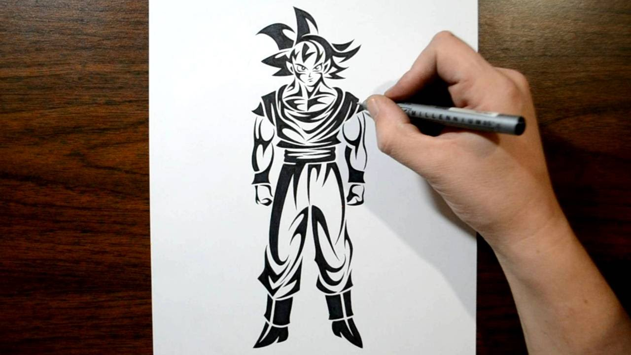 Drawing Goku Dragon Ball Tribal Tattoo Design Style Youtube