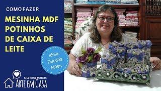 Bandeja MDF com potinhos reciclados para o Dia das Mães