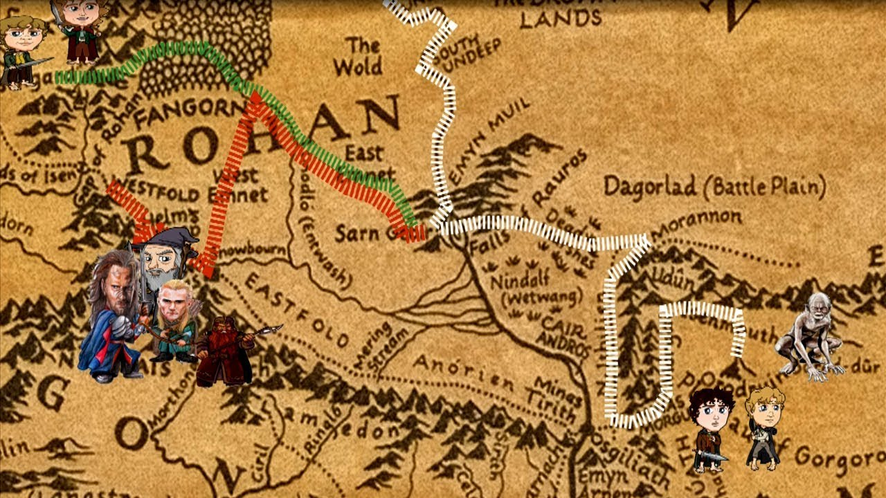 lord of the rings animated historic map timeline of fellowship travels
