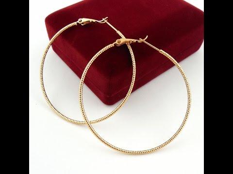 Серьги кольца конго под золото 585 пробы украшение