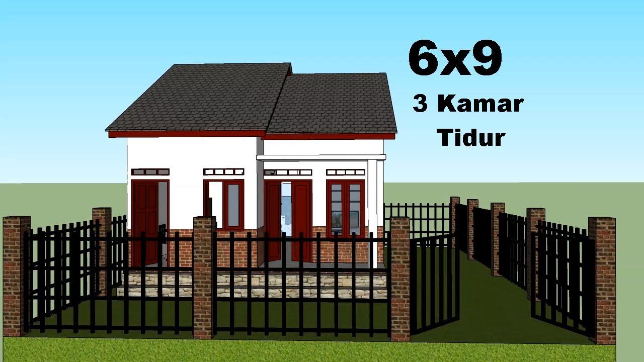 Desain Rumah Minimalis 6x9 - 3 Kamar Tidur - YouTube