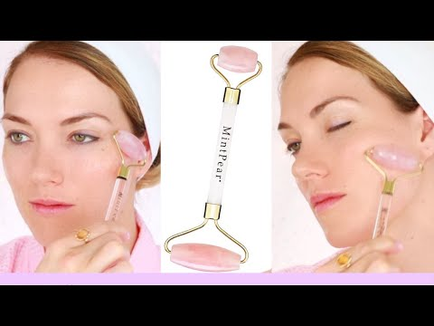 HOW TO USE A ROSE QUARTZ ROLLER   BENEFITS   WITH ROSEHIP OIL NIGHT SERUM BY MINTPEAR   RITA ALMUSA