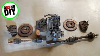 Tracked Amphibious Vehicle Build Ep. 2 - Scrapping A Car For Transmission & Drivetrain Parts