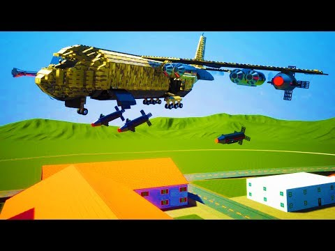 MASSIVE NUCLEAR BOMBER PLANE DESTROYS CITY OF BRICKSVILLE! - Brick Rigs Workshop Creations Gameplay