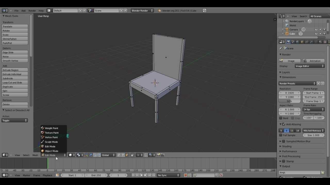 Blender basic chair Tutorial for beginners  YouTube