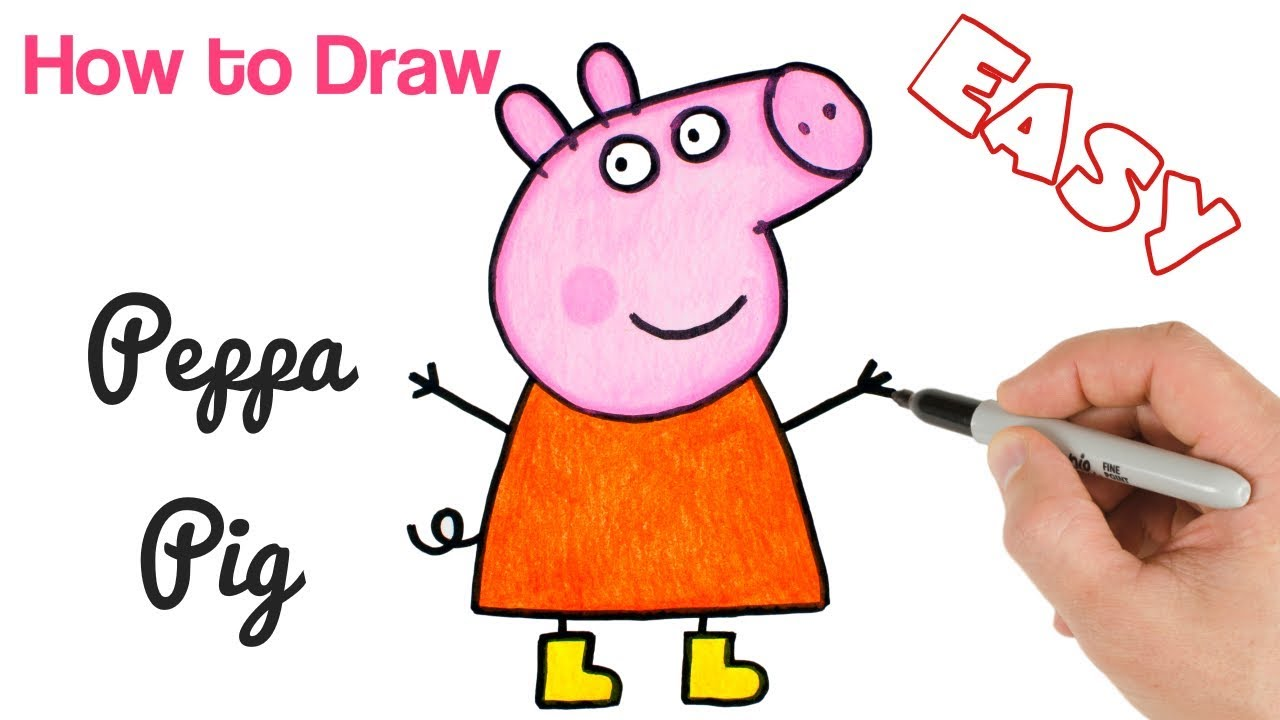 How To Draw Peppa Pig Cartoon Drawings For Beginners Art