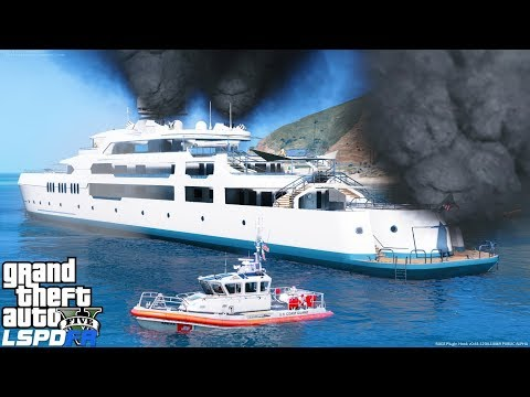 GTA 5 LSPDFR Coastal Callouts- Coast Guard Rescue Boat Responds To Yacht On Fire With People Trapped