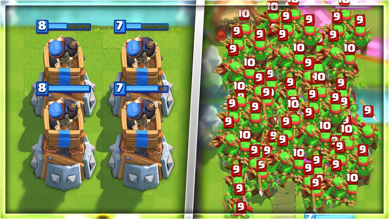 Download CAN 2 BOMB TOWERS TAKE OUT 80+ GOBLINS in Clash Royale!?!?