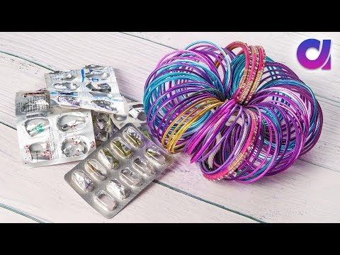 Best out of waste bangles and medicine wrapper | Room decor | Artkala