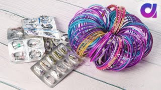 Best out of waste bangles and medicine wrapper | Room decor | Artkala