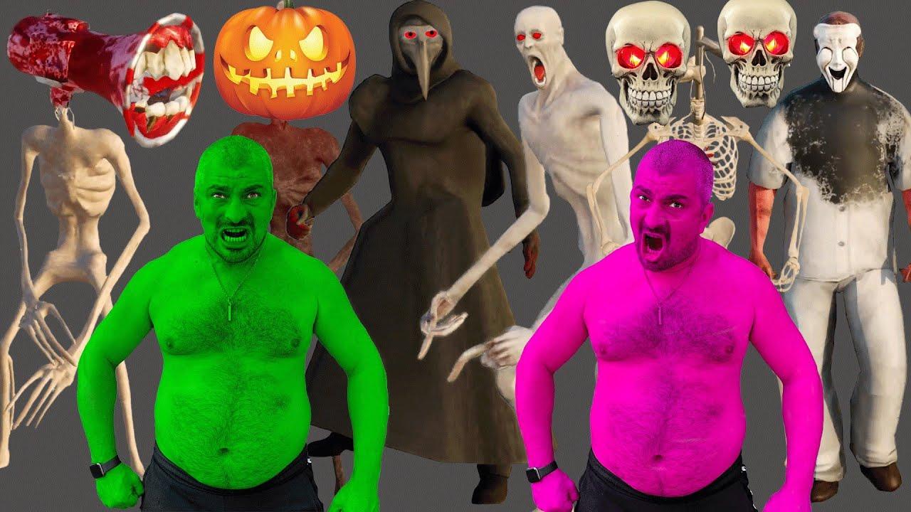 Team Hulk VS Skeleton Siren Head, SCP 096, Pumpkin Siren Head, SCP 049, Vampire Siren Head, SCP 323