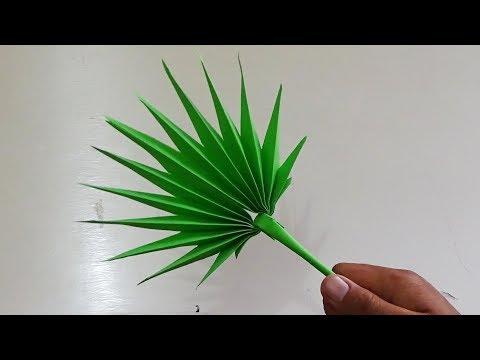 Cara Membuat Daun Palm-DIY FAN PALM LEAVES PAPER CRAFTS TUTORIAL