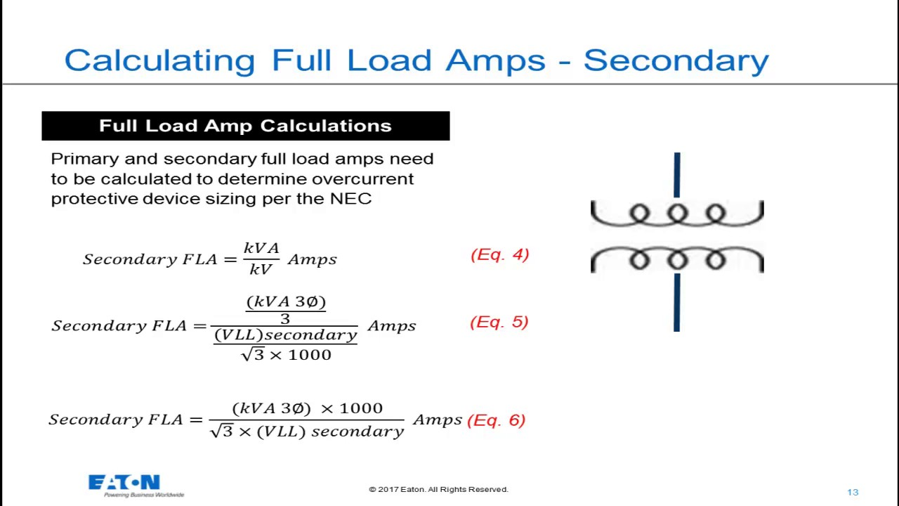 Transformers - Calculating Full Load Amps