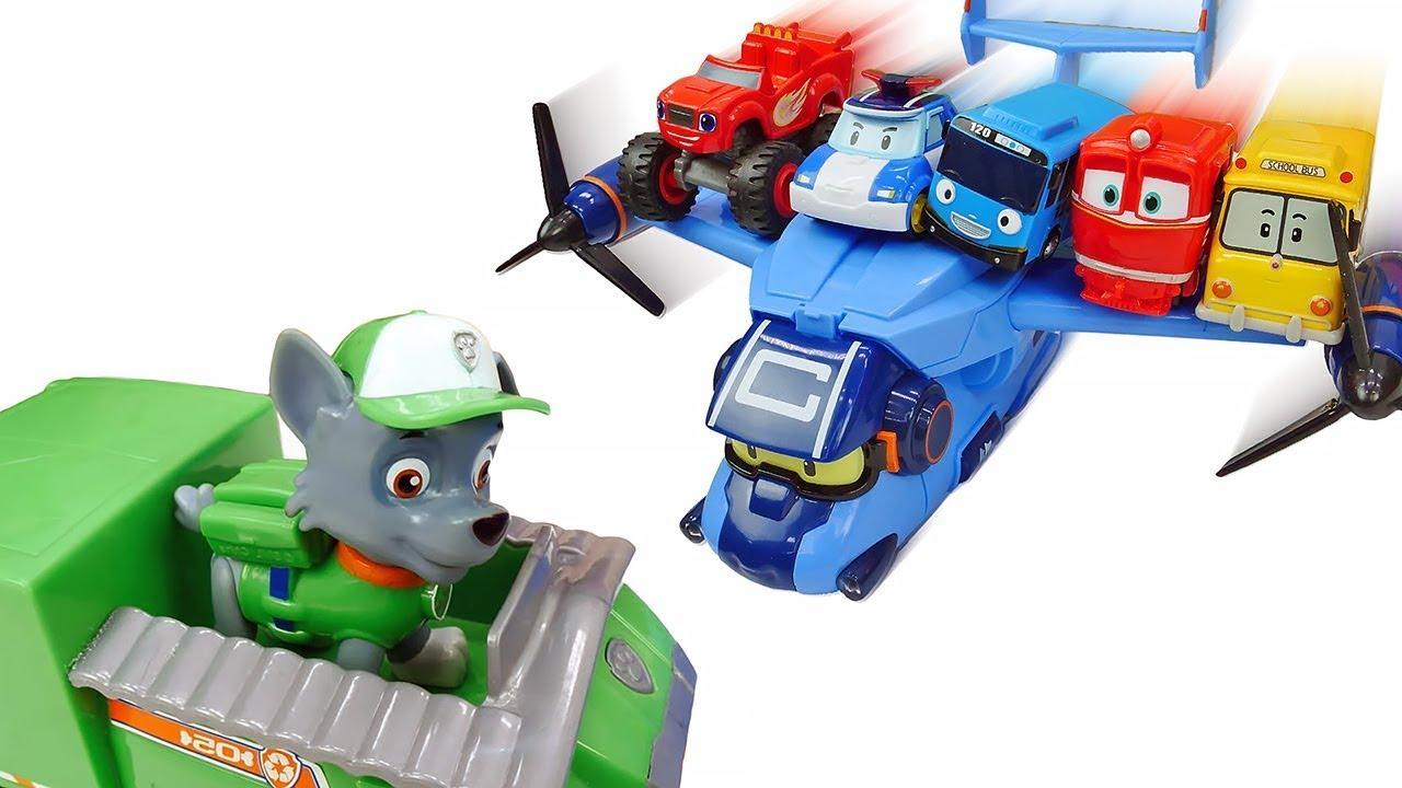 Видео про игрушки и машинки: Вспыш, Автобус Тайо, Робокар Поли ждут самолет! Время быть героем!