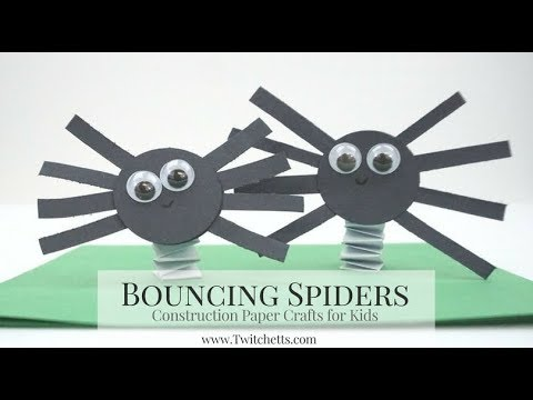 Bouncing Construction Paper Spiders Halloween Craft For Kids Youtube