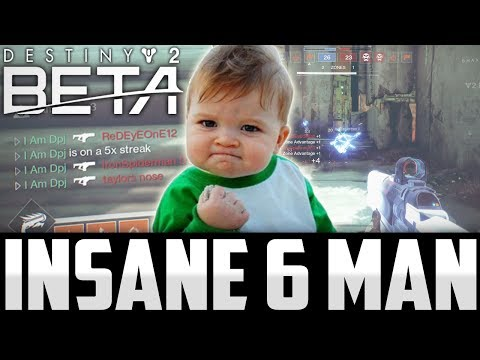 Destiny 2 Beta: Amazing 6 Man Fusion Spree With Epic Reaction - Best Destiny 2 Beta Power Weapon!